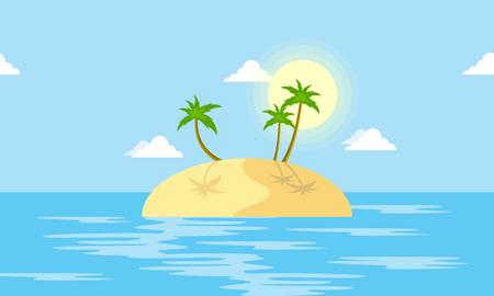 Island scenery with palm cartoon vector illustration