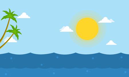 Sea beautiful landscape cartoon vector collection stock