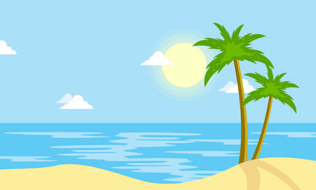 Landscape of beach with sun cartoon vector illustration