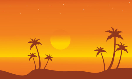 Silhouette of beach on orange backgrounds vector illustration