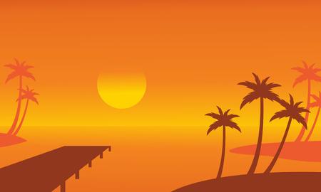Seaside palm and pier scenery silhouettes vector illustration Illusztráció