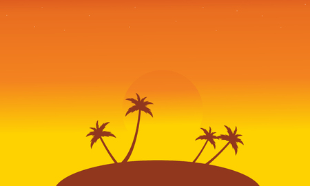 Silhouette of islands at sunset scenery vector illustration Illustration
