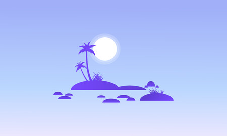 canary islands: Island and rock on seaside silhouettes vector illustration Illustration
