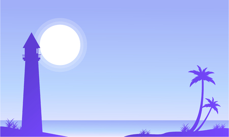 Seaside scenery with palm and lighthouse vector illustration