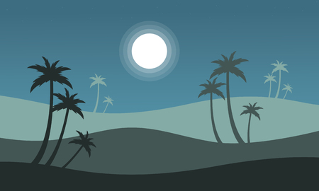 At night seaside scenery with palm vector illustration Illustration