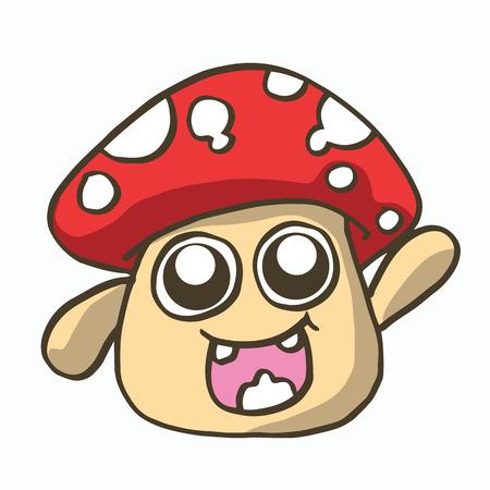 muscaria: mushroom cartoon illustration t-shirt design collection stock