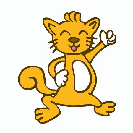 baile caricatura: baile de gato para el diseño ilustración vectorial camiseta de los niños Vectores