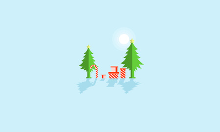 wintery: Cartoon spruce tree and gift for christmas vector illustration