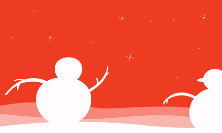 Silhouette of snowman christmas scenery vector illustration