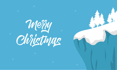 wintery: Christmas winter landscape of silhouette vector illustration