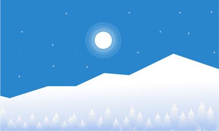 wintery: Mountain christmas landscape of vector flat illustration