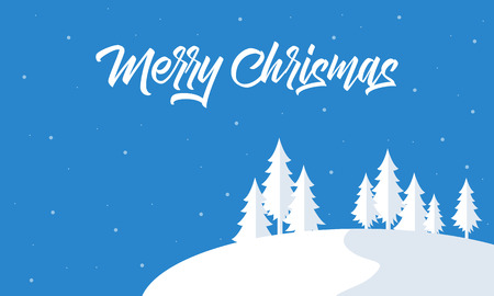 wintery: Silohouette of snow and tree christmas landscape vector
