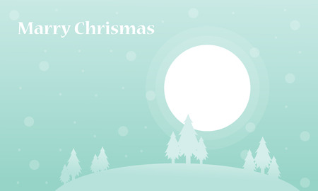 wintery: Tree and big moon winter christmas silhouettes vector art Illustration