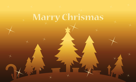 wintery: Spruce tree and gift landscape on gold backgrounds christmas