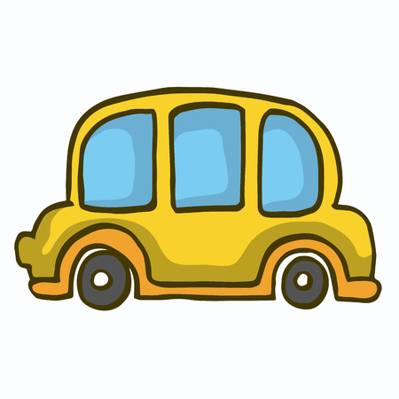 yellow car: Yellow car cute vector illustration for kids