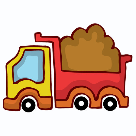 dumping: Vector Cartoon Dump Truck design for kids collection Illustration