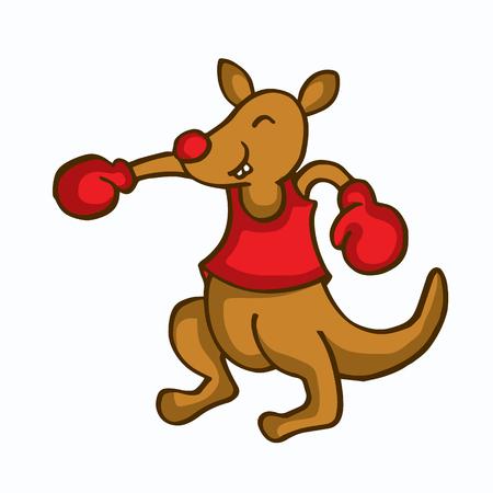 Cartoon kangaroo boxing funny collection vector illustration