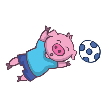 baby playing toy: Pig playing football cartoon design vector illustration