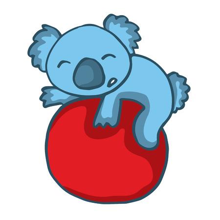 big ball: Koala playing big ball cartoon vector illustration Illustration