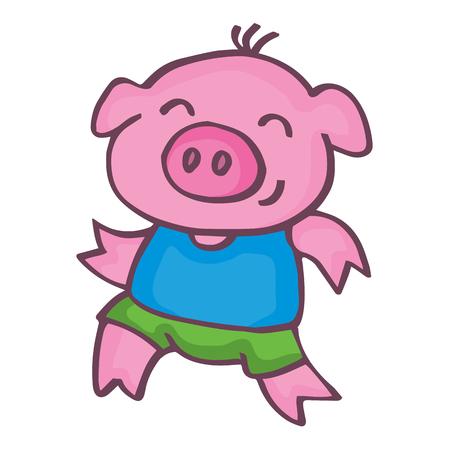 baby playing toy: Running pig cartoon design kids vetcor illustration