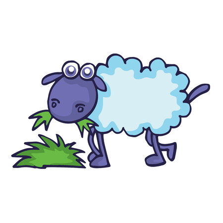 Sheep eating grass cartoon vector illustration collection Illustration