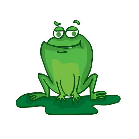 croaking: Cute frog cartoon collection stock vector illustration