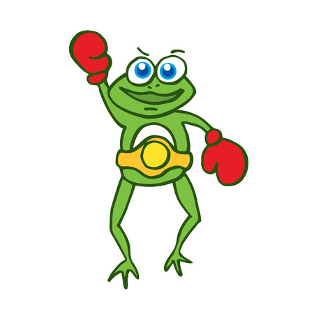 croaking: Boxing frog happy cartoon vector illustration collection
