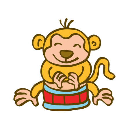 Monkey playing drum cartoon vector art illustration Illustration