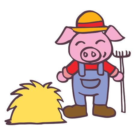 baby playing toy: Breeder pig happy cartoon design kids vector illustration