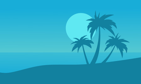 Silhouette of beach and palm on blue backgrounds vector Illustration