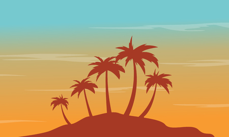 At afternoon seaside palm scenery silhouettes vector illustration Illustration