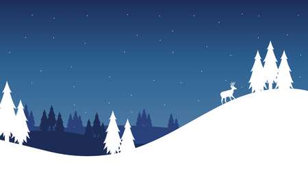 Silhouette of hill landscape winter Christmas vector art