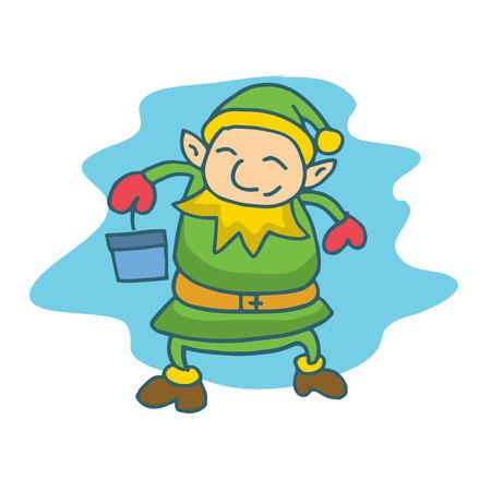 hilarious: Cute and happy Christmas elf cartoon vector illustration