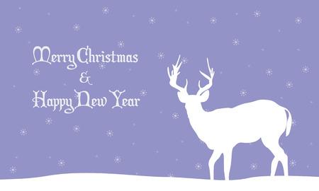 winter scenery: Illustration of deer winter Christmas scenery vector flat