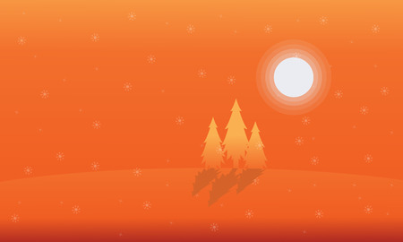 Landscape of spruce on orange backgrounds Christmas