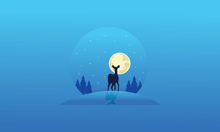 Collection of deer Christmas landscape silhouettes vector
