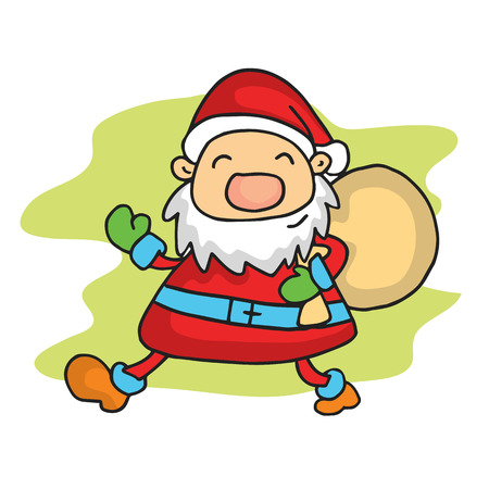 personages: Illustration of Santa with gift bag vector art