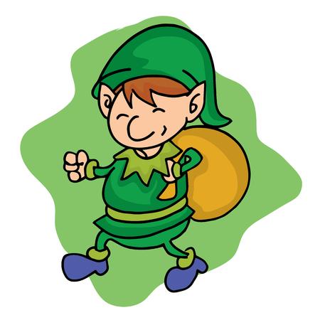 hilarious: Elf helper with gift bag cartoon vector illustration