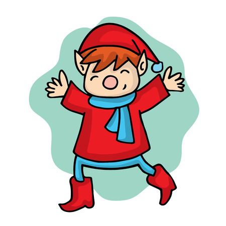 Cartoon elf with red costume Christmas collection