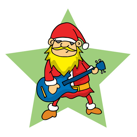 personages: Santa with guitar vector illustration Christmas collection Illustration