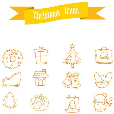 ice tea: Yellow icon set of Christmas vector illustration Illustration