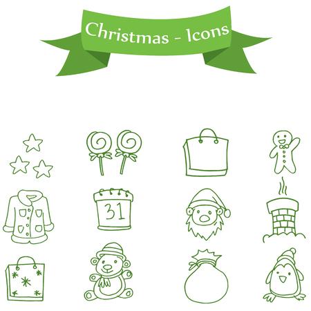 ice tea: Set of illustration Christmas icons collection stock