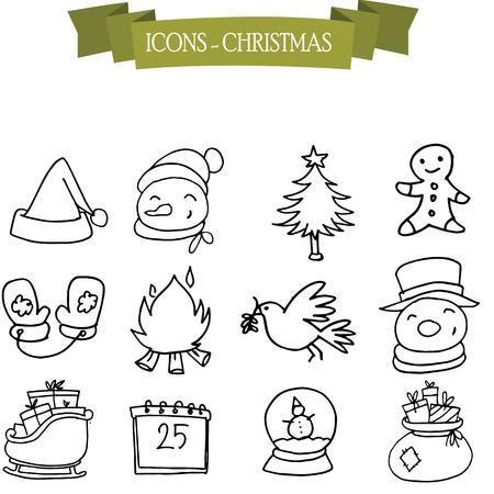 ice tea: Hand draw of Christmas and holiday icons Illustration