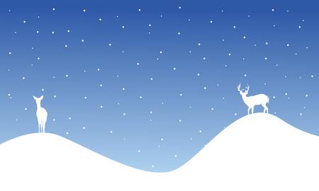santa sleigh: Silhouette of reindeer on hill scenery vector illustration