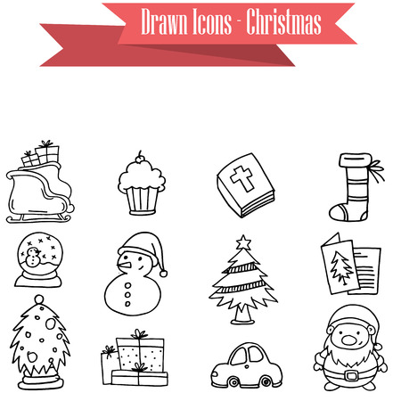 ice tea: Collection stock of Christmas icons vector