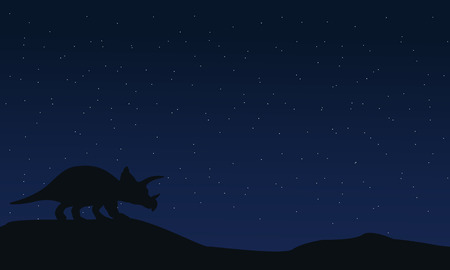 triceratops: Silhouette of triceratops at night landscape illustration