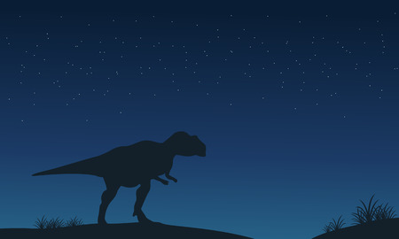 Mapusaurus lonely at night silhouettes vector illustration