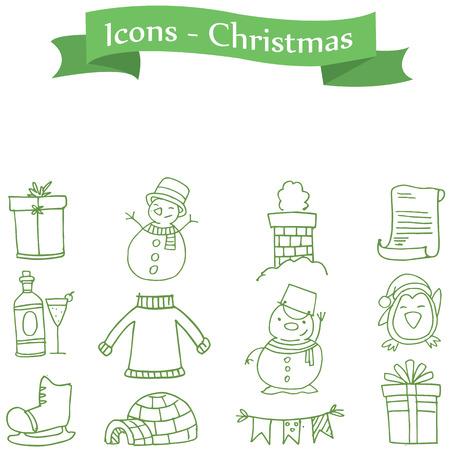 ice tea: Green icon Christmas colection stock vector art