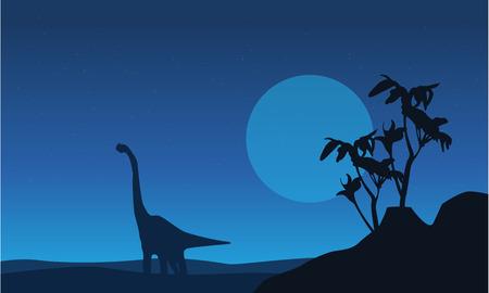 Silhouette of brachiosaurus at night landscape vector art
