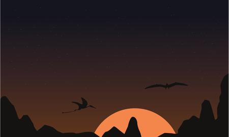 pterodactyl: At sunset pterodactyl landscape of silhouettes vector illustration